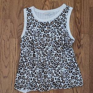 LOFT sleeveless animal print blouse GUC